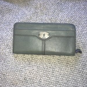 Blue fossil wallet